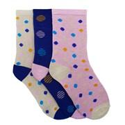 Ladies 3pack Cotton Rich Dot Socks (size Uk4-7) (SK439)